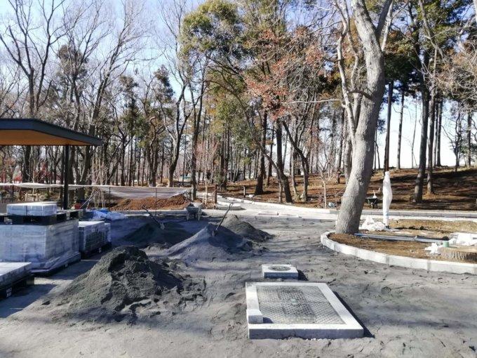 鶴間公園のグランベリーパーク側の様子2019年2月